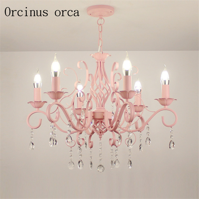 European style garden crystal candle lamp Princess Room pink girl ...