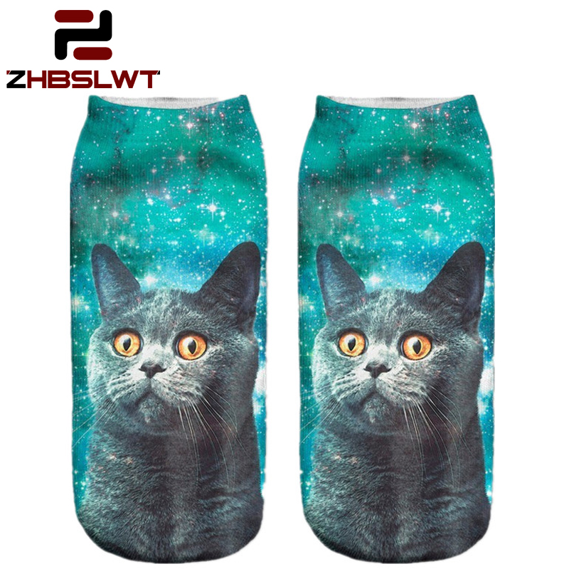 3D Sock Print Lovely Cat Time-limited Ruched Polyester Contrast Color Meias Women Socks Casual Cute Character Unisex