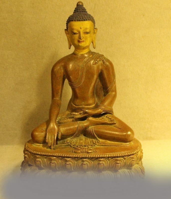 Old Tibet Pure Bronze Shakyamuni Amitabha Buddha Tathagata Sakyamuni Statue