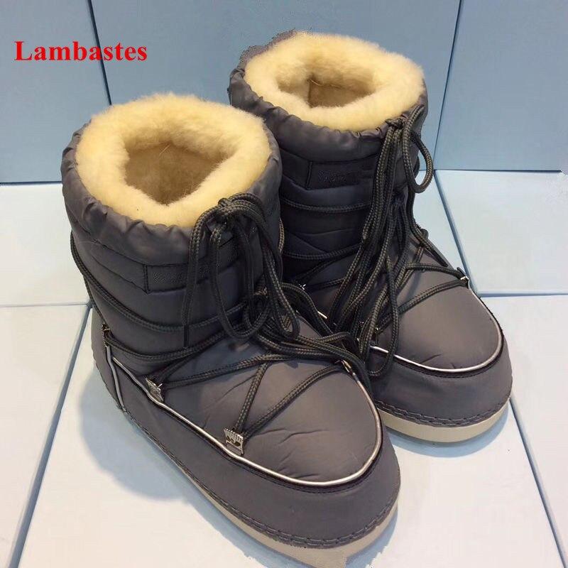 2019 г. Лидер продаж зимние ботинки шерсть Дизайнерские ботильоны на шнуровке высокие женские ботинки теплые плоской подошве Невысокие туфли