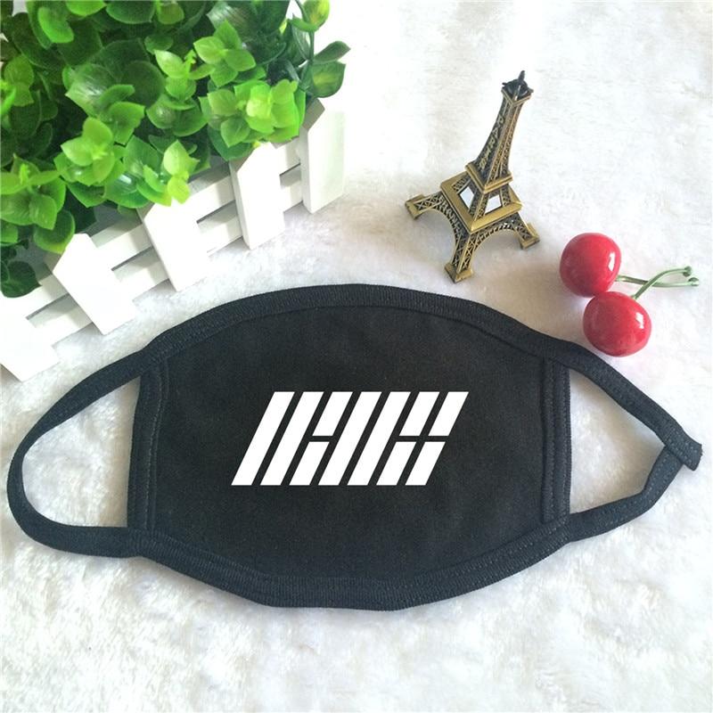 Kpop IKON Return Album Logo Print K-pop Fashion Face Masks Unisex Cotton Black Mouth Mask