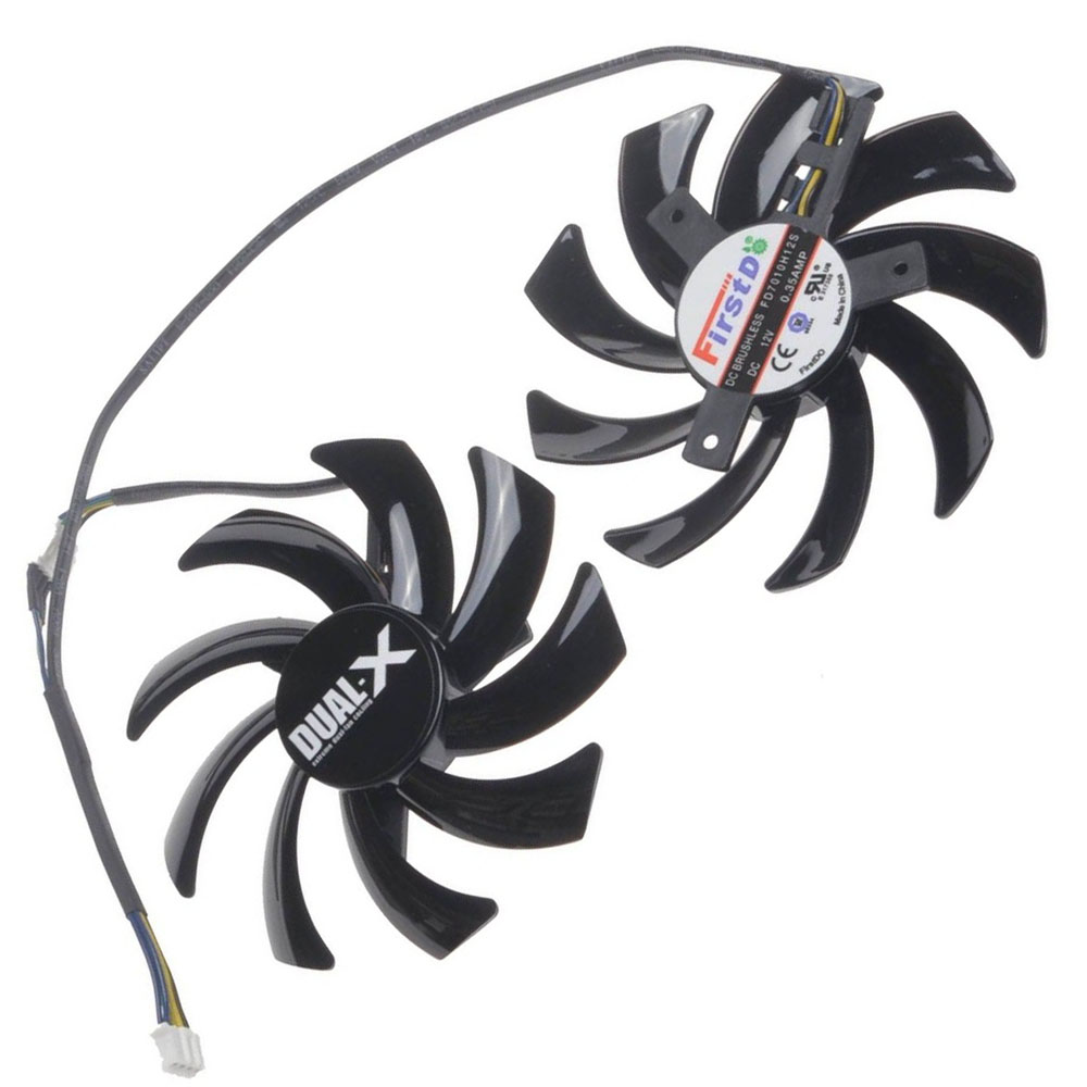 2 Pcs/Lot 85MM 4Pin Computer VGA Cooling Fan Cooler Graphics Card Fan for Sapphire R9-370X/270/280/280X/285 Video cards cooling 100mm fan 2 heatpipe graphics cooler for nvidia ati graphics card cooler cooling vga fan vga radiator pccooler k101d