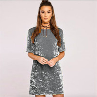 2017 Spring Summer Velvet Dress Women Short Sleeve Casual Mini Bodycon Ladies Dresses Satin Slip Pink