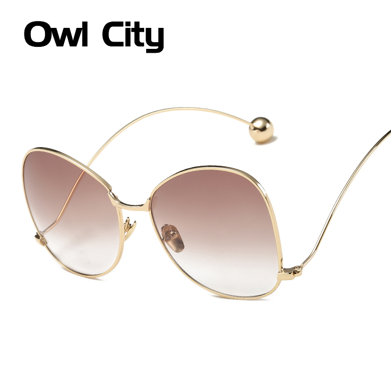 Fashion Oversized Sunglasses Women Brand Designer Round Metal Frame Gradient Lens Butterfly Sunglasses For Female Eyewear