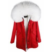maomaokong 2018 new women's Oversized Raccoon fur collar hooded long faux fur lining winter jacket