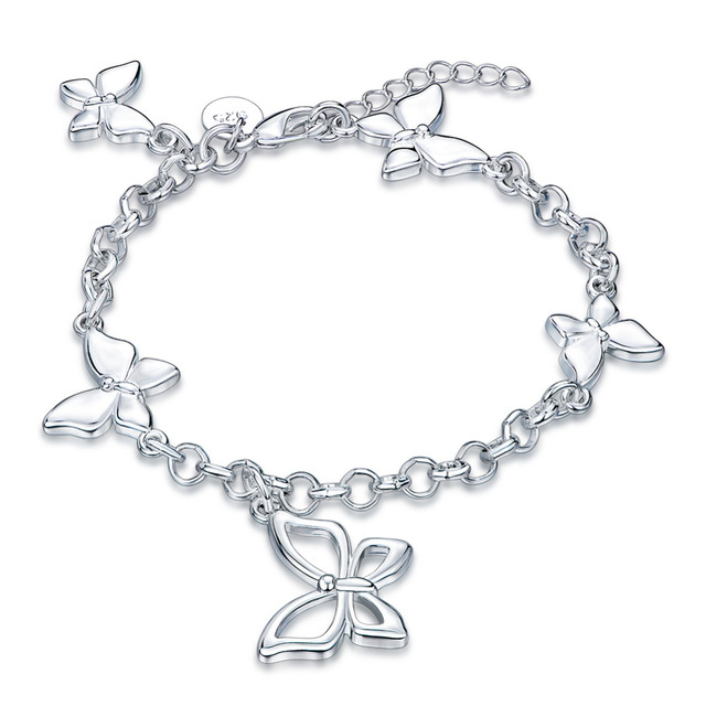 Fashion Jewelry Butterflies Bracelets Silver Plated Chain Charm