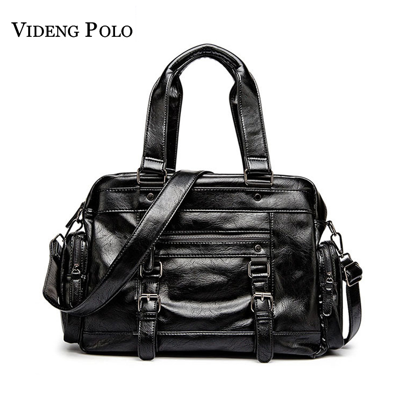 VIDENG POLO Brand Fashion Leather Handbags For Men Casual Large Capacity Portable Shoulder Bags Men's Travel Bags Package Bolsa kadell unisex handbags for men large capacity portable shoulder bags travel bags package soft pu leather retro bags women