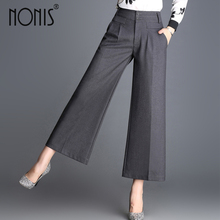 Nonis Wide leg capris pant for women 2017 mid waist ladies casual office work pant loose trousers femme pantalon plus size(China)
