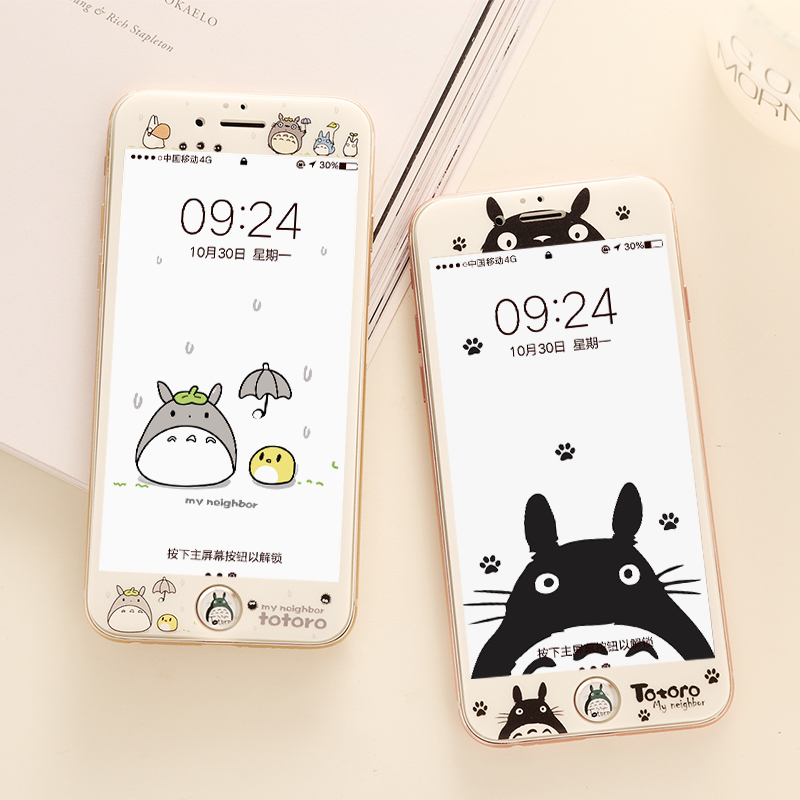 New Totoro front film for iPhone 7 8 plus tempered glass with soft edge screen protector