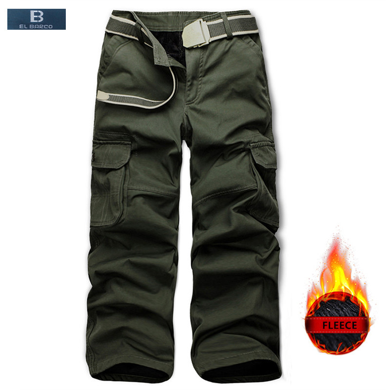el Barco Winter Fleece Cotton Casual Pants Men Soft Warm Military Cargo Pants Khaki Black Army Green Long Trousers Plus Size Men's Clothing