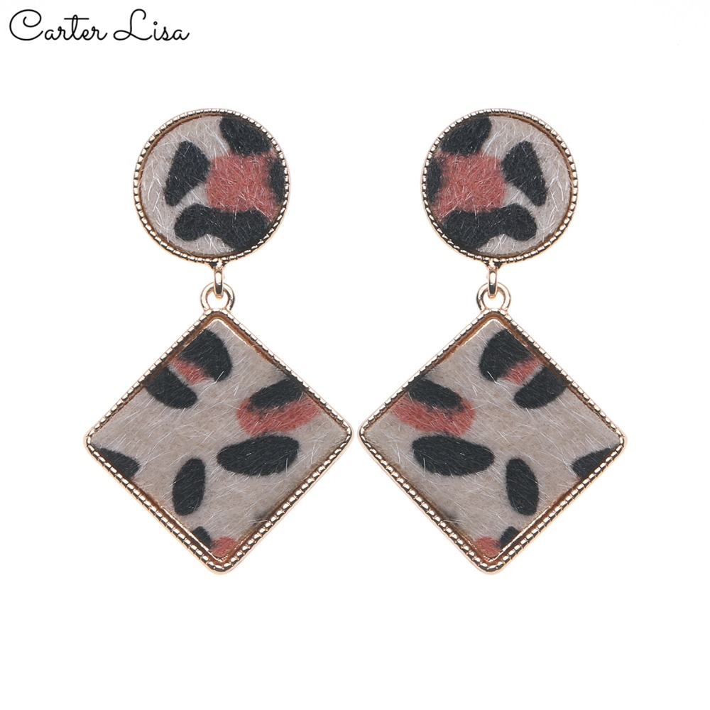 CARTER LISA NEW Trend Women Brand Design  Leopard Geometric Square Metal Dangle Drop Earrings Fashion Female Jewelry Pendientes
