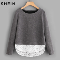 SHEIN Grey Curved Embroidered Mesh Hem Textured Tee Long Sleeve T Shirt Women Color Block Casual
