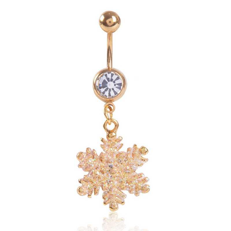גבוהה באיכות זהב שלג פרח בצורת נירוסטה אבזם זהב צבע פירסינג טבור טבור עבור חג המולד מתנה