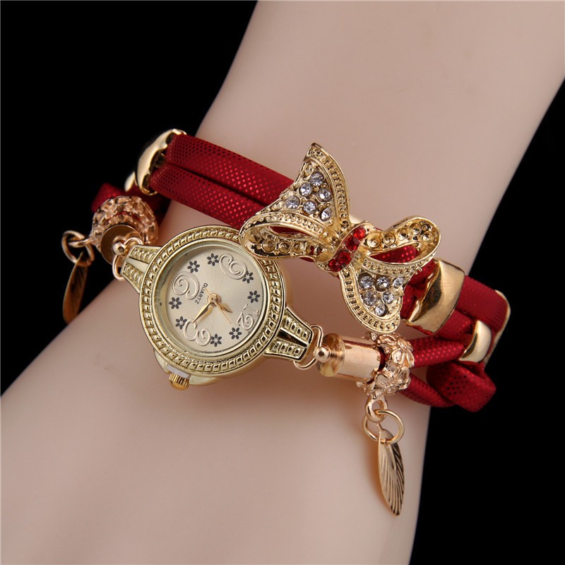 MINHIN Butterfly Retro Bracelet Watches Women Lovely Wedding Quartz Wrist Watches 6 Colors Rhinestone Delicate Female Watches (China)