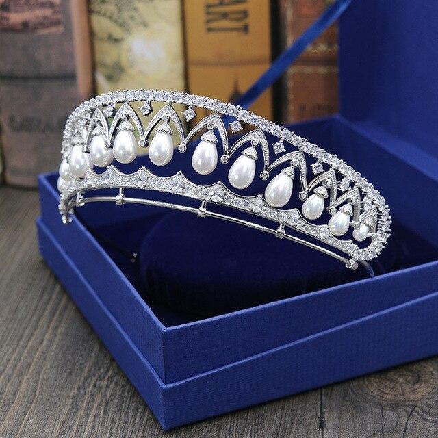 Mariée magnifique clair cubique Zircon perles de mariage diadème CZ mariée reine princesse reconstitution historique Royal fête couronne femmes cheveux bijoux