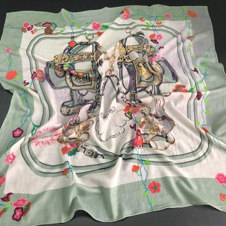 Saddle Floral Scarf Women 300s Pure Cashmere Winter Spring Scarves Luxury Brand Design Shawls Wraps Handmade