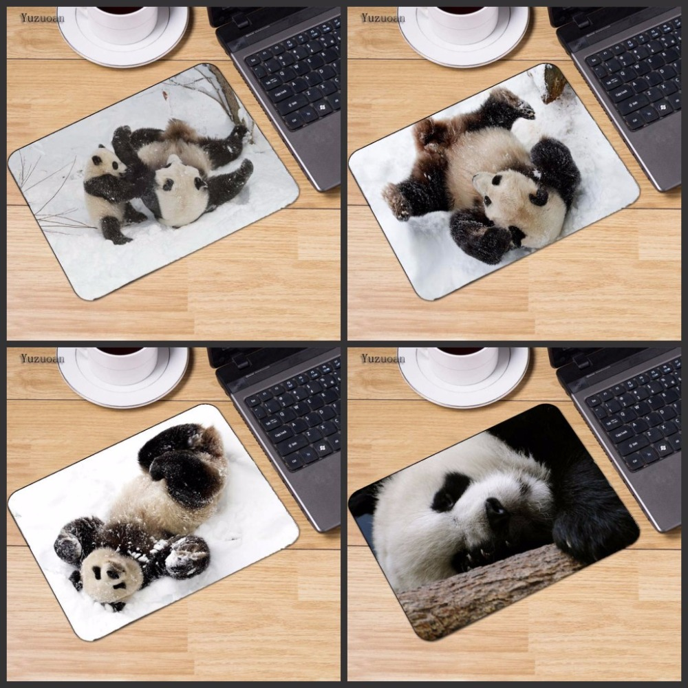 Yuzuoan Cute panda play with snow Large Gaming keyboard Mouse pad PC Computer mat Size for 18x22 Or 25x29cm Small Mousepad