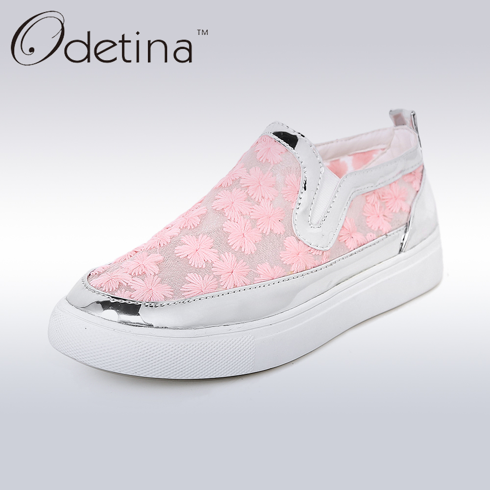 Odetina 2017 Summer Breathable Mesh Shoes Women Flat Casual Loafers Flats Shoes Slip on Embroider Zapatos Mujer Big Size 32-45 big size 46 summer breathable mesh loafers men casual shoes genuine leather slip on brand fashion flat shoes soft comfort cool