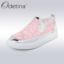 Odetina 2017 Summer Breathable Mesh Shoes Women Flat Casual Loafers Flats Shoes Slip on Embroider Zapatos Mujer Big Size 32-45