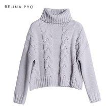 REJINAPYO mujeres chenilla de moda de ganchillo cuerda suéter cuello alto  de moda caliente de hombro suelto suéter 6b6f85749f9b