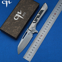 CH BUTCHER 2 Flipper folding knife S35VN ceramic bearingbearing titanium+CF handle outdoor camping fruit knife EDC tool