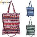 Guapabien Summer Bohemia Beach Bag Handmade Linen Cotton Shoulder Messenger Bag Colorful Ethnic Geometric Women Shopping Handbag