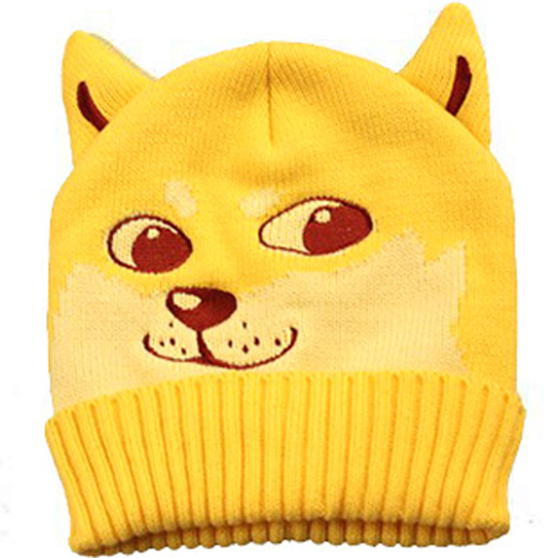 Stylish Funny Dog Head Shiba Inu Doge Kabosu Knitted Hat Creative Animal Winter For Women