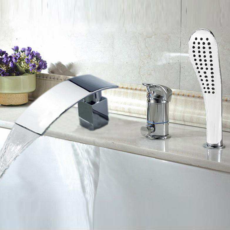 New Chrome Deck Mounted Waterfall Bathroom Tub Faucet With Hand Shower Mixer Tap