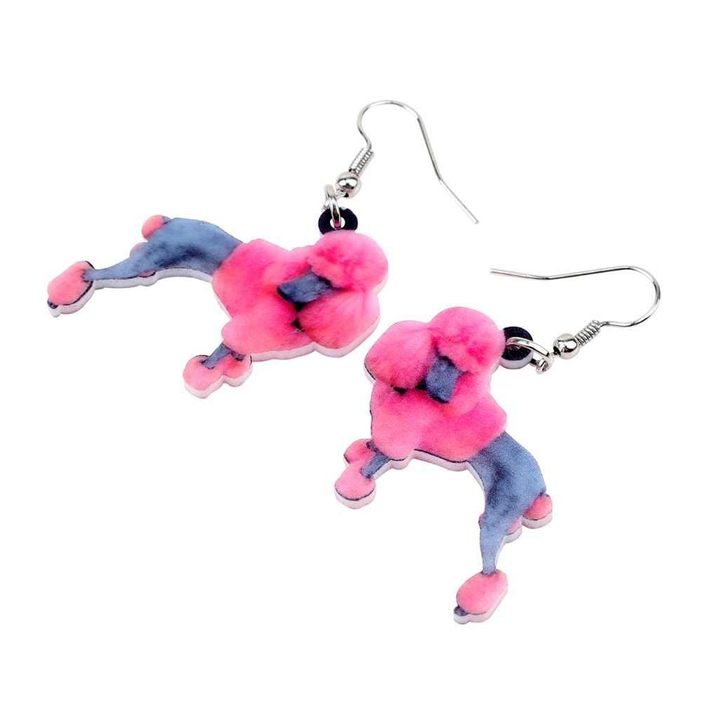 Bonsny declaración acrílico elegante Poodle perro pendientes grande largo colgante gota joyería para mujeres chicas señora moda Animal accesorio