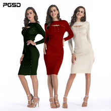 PGSD New Autumn Winter Simple fashion Pure Women Clothes Medium lengt Long sleeves buttocks slim knitted sweater Dresses female