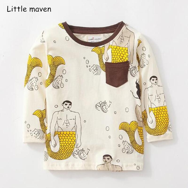 Little maven children brand baby boy clothes 2021 autumn boys cotton long sleeve tops mermaid print t shirt 51171 1