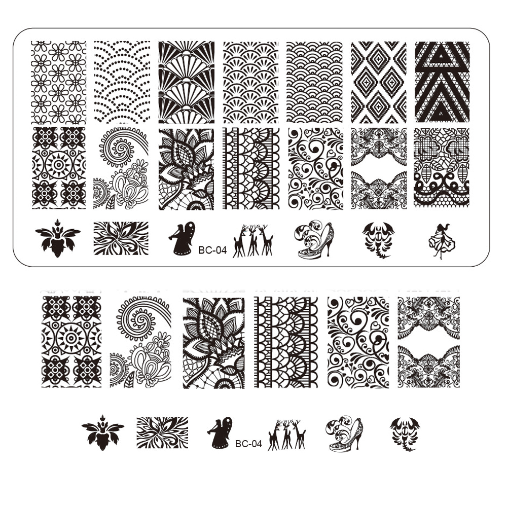 1pcs NEW Image Lace Nail Art Stamp Polish Transfer Stencils Nail Art Decorations Tools For Beauty Stamping Plates Tools TRBC04