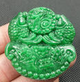 Beautiful Natural Green Jade Pendant Fine Jade Carved Chinese Fu Fish Lucky Pendant + Rope Necklace Fashion Jade Jewelry