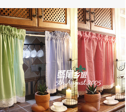Country Style Cotton Small Cell Half Curtain Coffee Curtain Cabinet