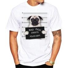 2016 Creative Dog Police Dept Design Men T Shirt Pug Printed T-shirt Short Sleeve Casual French Bulldog Tops