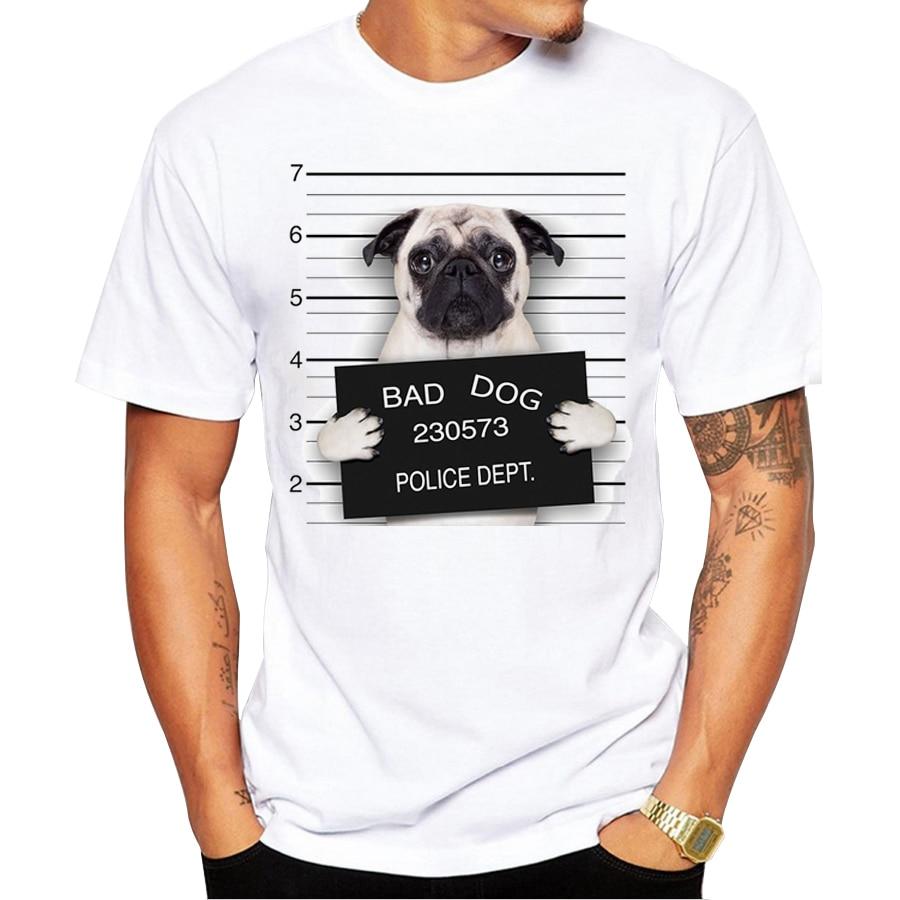 2017 creative dog police dept design men t shirt pug for Dog t shirt for after surgery