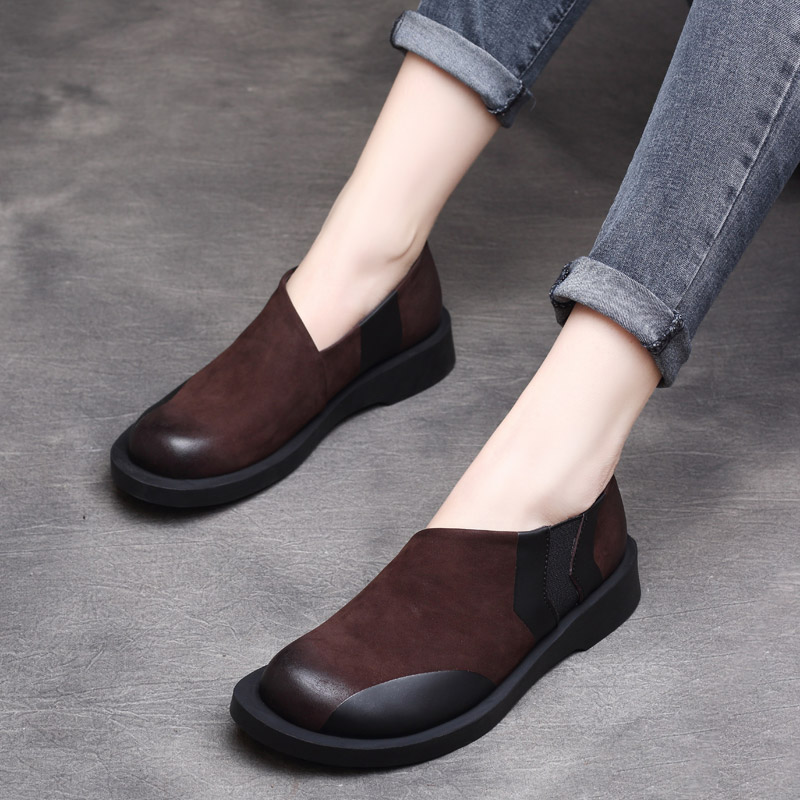 Women Leather Flats Lazy Shoes Moccasins Women Shoes Spring 2019 Handmade Genuine Leather Soft Loafers Slip