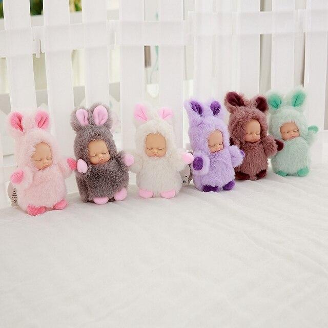 Mini 12cm kawaii sleep baby dolls plush toys Bjd bebe bear rabbit doll Key chain Pendant for kids girl Christmas birthday gift  2