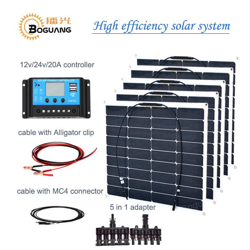 BOGUANG 5PCS 18v 50w semi flexible solar panel module 250w 12v DIY kit system 20A controller 5 in 1 adapter MC4 cable battery