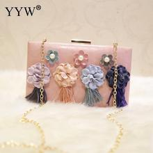 Ladies Tassels Clutch Bag With Chain Flower Wedding Party Handbag Vintage Wallet Purse Elegant Female 2019 Sac Main Femme