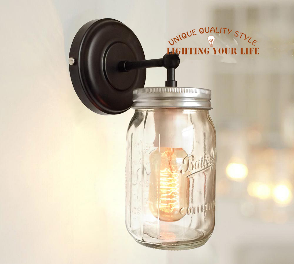 2014 modern diy mason jar wall sconce lamp hand blown crystal stained glass sconce clear wall. Black Bedroom Furniture Sets. Home Design Ideas