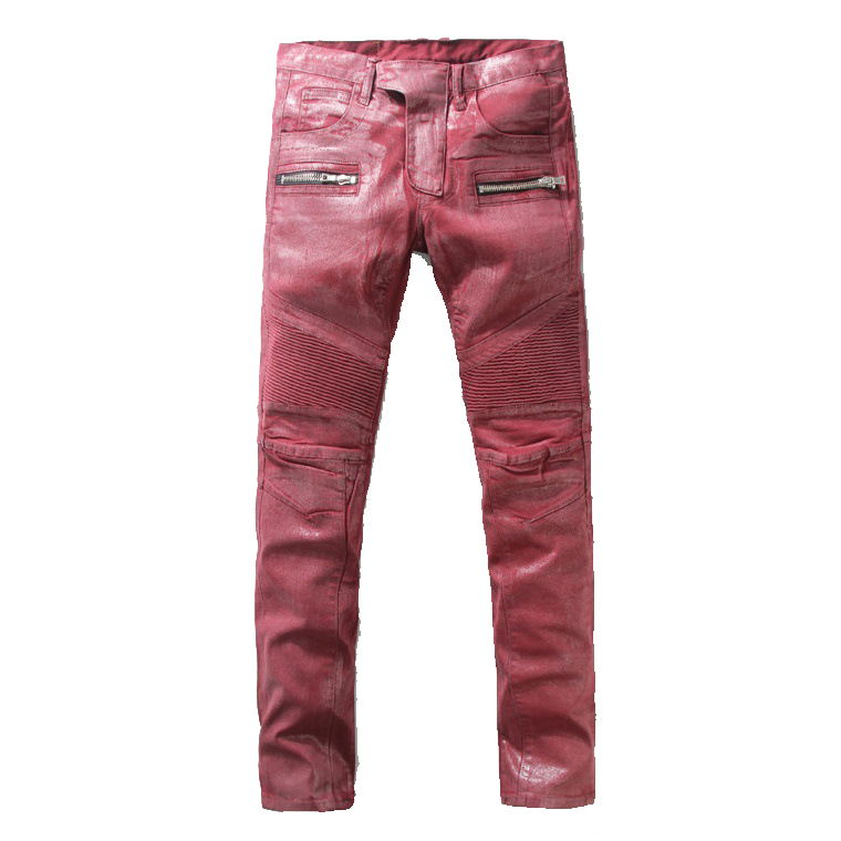 ФОТО 2016 New Men Nightclubs Coated wine red  hore Jeans,Famous Brand Fashion Designer Denim Jeans Men,plus-size 28-40, casual jeans