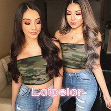 Women Strapless Bustier Crop Top Bodycon Bandeau Camisole Camouflage Tank Tube Tops Laipelar