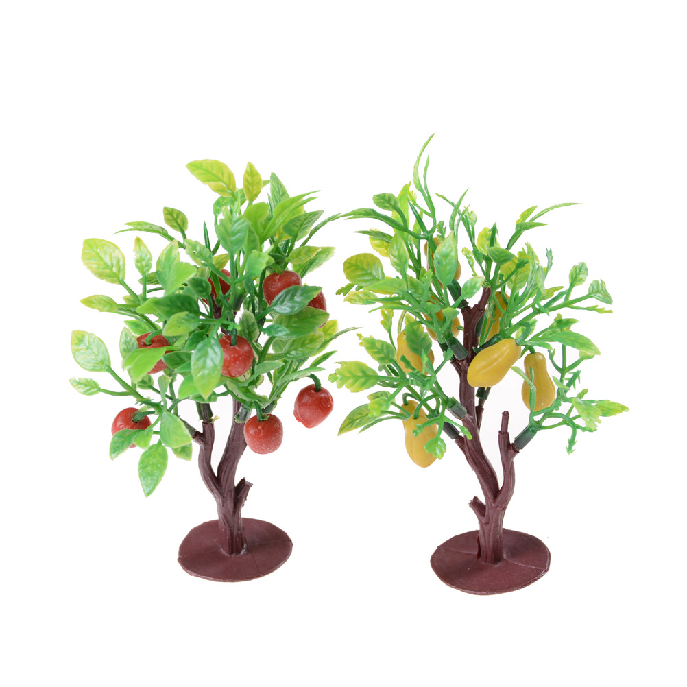 Plastic 2pcs 10cm Fruit Tree Model Railway Park Layout Scenery Dollhouse Decoration