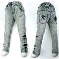 Antigo 4-8A Super Mãe Calça Jeans bordados Denim Calças botões de latão revolta Rebelde individualidade Carotte Adolescente criança 2016 MH9027