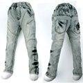 Antiguo 4-8Y Súper Perra bordado Jeans Denim Pantalones botones de latón individualidad revuelta Rebelde Adolescente niño 2016 MH9027 Carotte