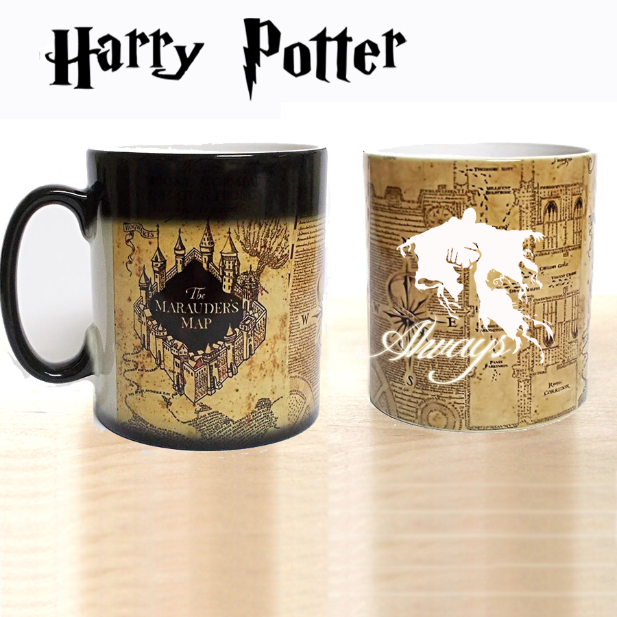 New Light Magic mugs Marauders Map always mug color Changing Heat Reactive Coffee cup mugs best gift for your always friends harry potter mug marauders map
