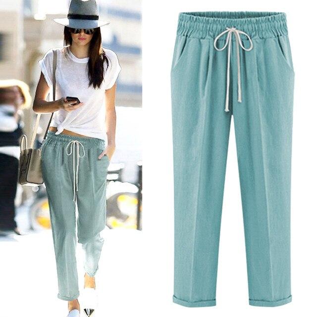 0fe21aa546c2 Aikeec Women s Pants 2018 Summer Elastic Drawstring Flip Hem Ankle Length  Pants Plus Size Loose Casual Thin Trousers For Women
