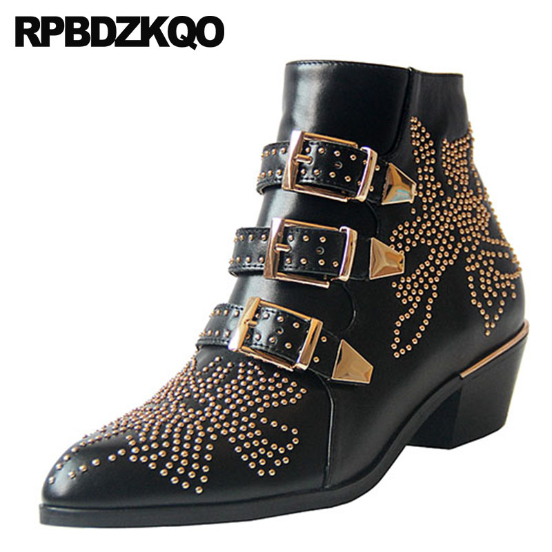 ee80a4aa1 Detail Feedback Questions about punk rock boots stud size 41 ankle big  rivet shoes women black motorcycle luxury snakeskin chunky biker pointed  toe snake 10 ...