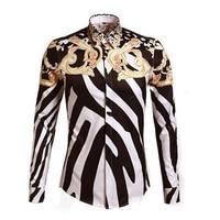 Królewski luksus moda Stylowe Bluzki Mężczyzn Marki Projektant Kwiatowy Print Fantazyjne Koszule Casual Slim Fit Koszula Bawełniana Sukienka Z Długim Rękawem